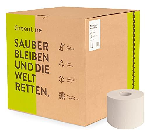 Toilettenpapier 3-lagig GreenLine | 36 Rollen a 400 Blatt Hochweiß | plastikfrei, 100% Recycling, hautfreundlich & umweltfreundlich