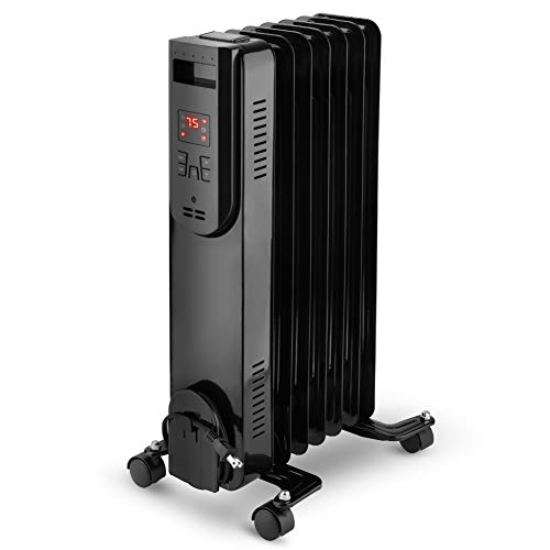 LIFEPLUS Oil Filled Radiator Heater 1500W Electric Oil Filled Radiator heater with 12-Hours Timer, Remote Control, Digital Thermostat, Tip-over & Overheat Protection, Electric Portable Heater Quiet for Full Room Indoor Office