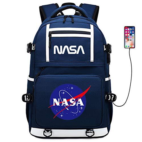 Clouds Großer NASA-Rucksack Für Teenager, Canvas-Rucksack Mit Mehreren Taschen Personalisierte Computertasche Mit USB-Ladeanschluss Für Freizeit/Reisen/Outdoor/Campus,Blau