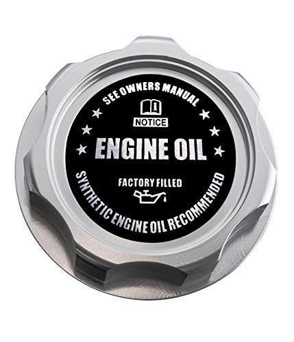 VMS RACING SILVER OIL CAP with BLACK ENGINE OIL NOTICE Emblem in CNC Machined Billet Aluminum Compatible with Honda Acura Integra