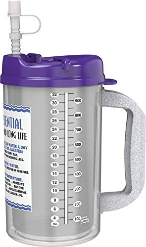 32 oz Insulated Cold Drink Hospital Mug with Purple Lid | Water Essential