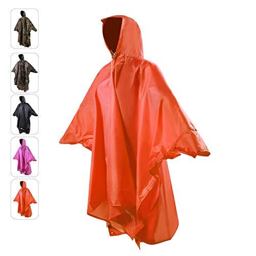 REDCAMP PU2000mm Wasserdicht Ärmeln Regenmantel Regenponcho, Wiederverwendbar Regencape Regenjacke für Damen Herren, Unisex Regenbekleidung für Wandern Camping Outdoor Reisen, Orange L
