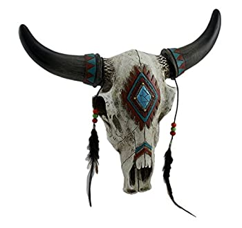 DeLeon Collections Rustic Southwest Bull Skull with Feathers Beads & Faux Turquoise Stone - Wall Hanging