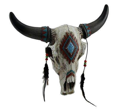 Rústico Southwest Bull cráneo con plumas, cuentas y piedra turquesa sintética–colgar en la pared