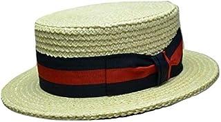 [TESIテシ] イタリア製ストローカンカン帽 ストライプリボン TK-043