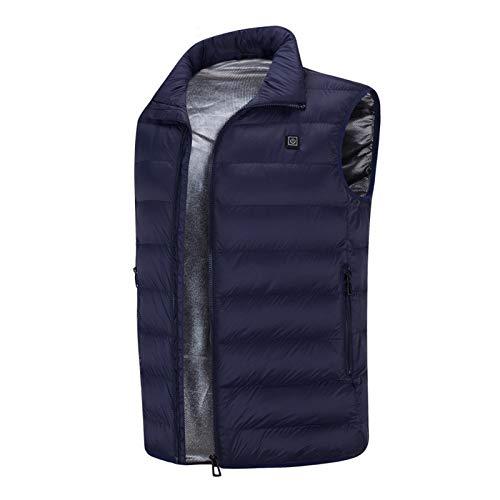 YIYIHOME Chaleco calefactor eléctrico USB con 3 temperaturas ajustables para hombres y mujeres, con 5 zonas de calor, para exteriores, senderismo, caza, motocicleta, camping, azul, M
