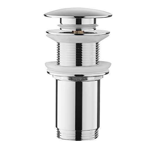 Bonde de vidange sans trop-plein Keymark - Bonde pop-up universelle pour lavabo et lavabo - Bonde à clapet - Bonde de vidange en laiton clic-clac