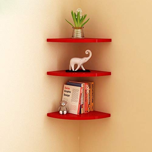 BEST&FAST Pack of 3 Industrial Style Fan-Shaped Wood-Based Corner Wall Bookshelf Modern Colorful Wall Decoration Multifunctional Vase Holder Flower Stand-RED (CJQ-Wall Shelf)