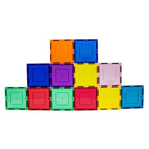 PicassoTiles 12 Piece Magnetic Building Block Set Square Shape Magnet Tiles Construction Toy STEM...