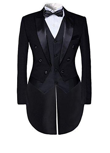 Allthemen Costume Homme Queue de morue Tuxedo Mariage Party Habit à Queue cérémonie, Noir(3 Pcs), 3XL