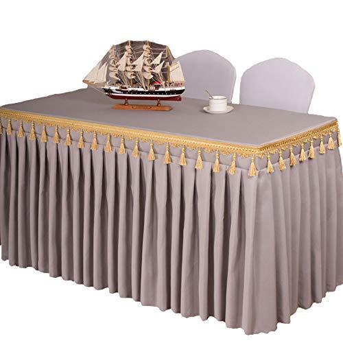 ISSHE Mantel del Poliester Color Sólido,Falda De Mesa para Hotel Iglesias Y Los Budistas Banquetes Restaurante Tela De Mesa Rectangular Lavable Gris M