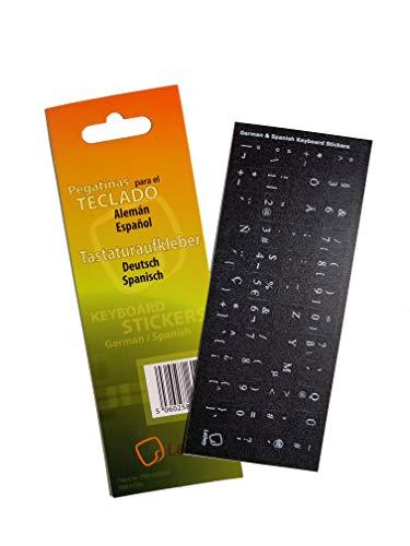 Pegatinas de Teclado en español/alemán para PC, computadora portátil, teclados de computadora, Macbook (Pegatina de Fondo Negro, Letras Blancas)