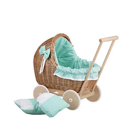 Puppenwagen aus Weide mit Bettwäsche