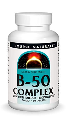 Source Naturals B-50 Complex 50 mg B-Vitamins For Energy Production Support - 50 Tablets