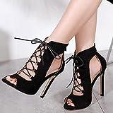 CCSSWW Zapatos con Tacon y Correa de Tobillo Mujer,Color Color Cross-Strand Sandalias-Negro_35,Sandalia de tacón Alto con Tiras Mujer