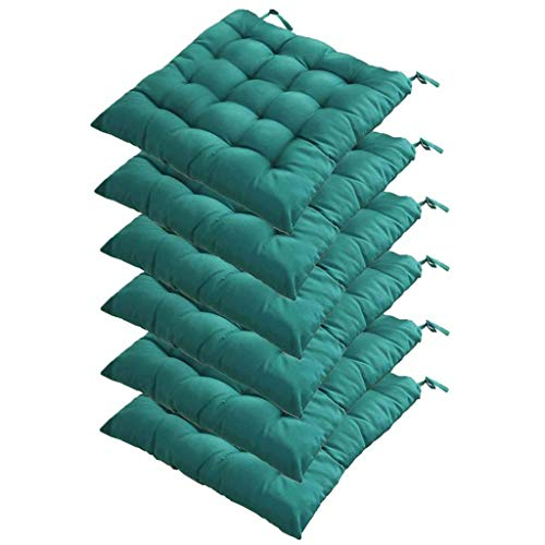DWXN Patio Chair Cushion with ties, wicker chair pad cushion outdoor, chair cushion for dining chairs with ties 40x40, seat cushions for kitchen chairs, for Home Office Outdoor Indoor-set of 6-Green