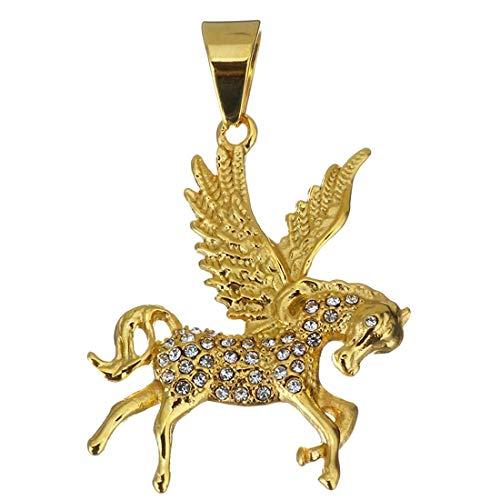 (M) ペンダント トップ メンズ ゴールドペガサス 天馬 馬 チョーカー ネックレス 首飾り 金メッキ サージカルステンレス316L チャーム パーツ 金属部品 クリスタル ジルコニア