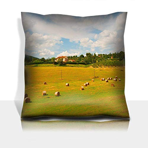ZMYGH Throw Pillowcase Cotton Satin Comfortable Decorative Soft Pillow Covers Protector Sofa 18x18 1 Pack Italy Landscape with Many Hay Bales
