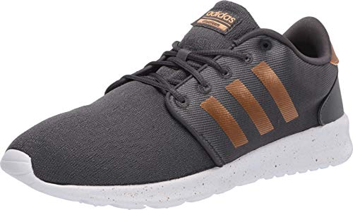 adidas Women's CloudfoamQT Racer Xpressive-Contemporary CloudfoamRunning Sneakers Shoes, Grey/Tactile Gold Met./Ftwr White, 6.5 M US