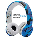 Kids Headphones ,Volume Limited Hisonic on ear foldable Headphones with Share Connector (Camouflage)