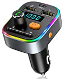 Bovon Bluetooth FM Transmitter Auto, [TYP-C-Laden] [mit Bass Sound] Bluetooth Adapter Auto Radio...