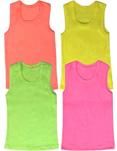 ToBeInStyle - Camiseta de tirantes de algodón con dobladillo con volantes para niña (4 unidades), Colores de neón acanalados., 5 Años