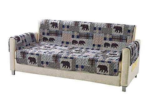 Rustic Modern Farmhouse Cabin Lodge Quilted Couch Sofa Loveseat Armchair Chair Recliner with Patchwork of Grizzly Bears and Buffalo Plaid Check Houndstooth Patterns Beige Blue - Western 2 (Loveseat)