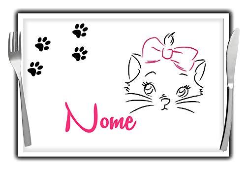L'Arcobaleno di Luci Tovaglietta Americana con Gattina e Nome Personalizzato Bambina