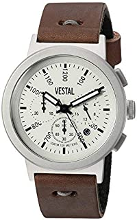Vestal Men's Retrofocus Chrono Makers Stainless Steel Japanese-Quartz Watch with Leather Calfskin Strap, Brown, 22 (Model: RETMAK003)