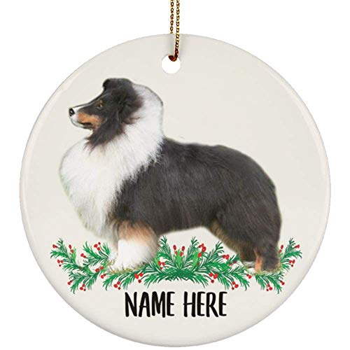 Lovesout Funny Personalized Name Sheltie Tri Color Christmas Tree Ornament Circle Ceramic