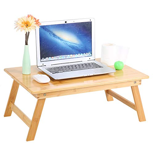 Ejoyous Laptoptisch,Betttisch aus Bambus, Faltbares Frühstück Serving Bett Tablett,Notebookständer, tragbare klappbare Laptop Tablett Couchtisch Schreibtisch