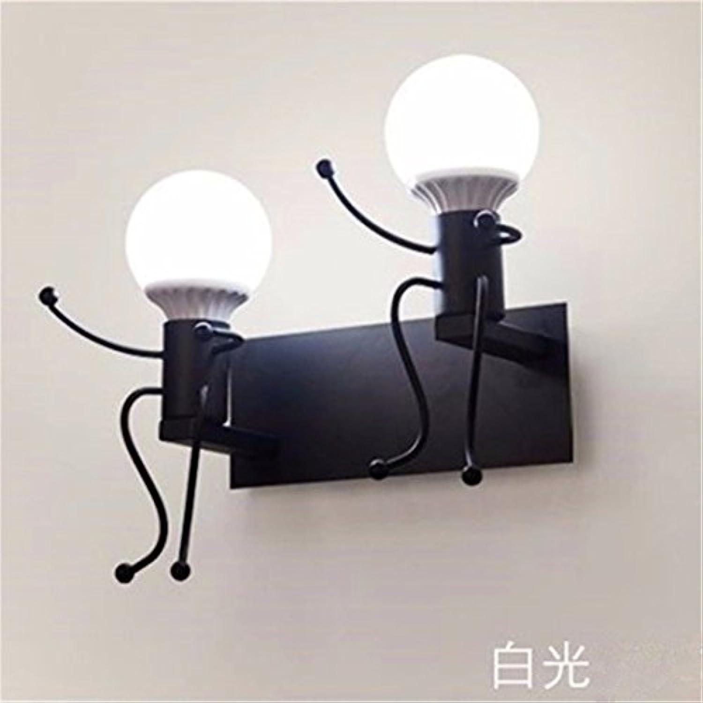 Pouluuo Amerikanischer schmiedeeiserne Wandlampe Retro-Schlafzimmer Nachttischlampe Shop Gang einfache kreative Persnlichkeit Wandleuchte schwarz Doppelkopf