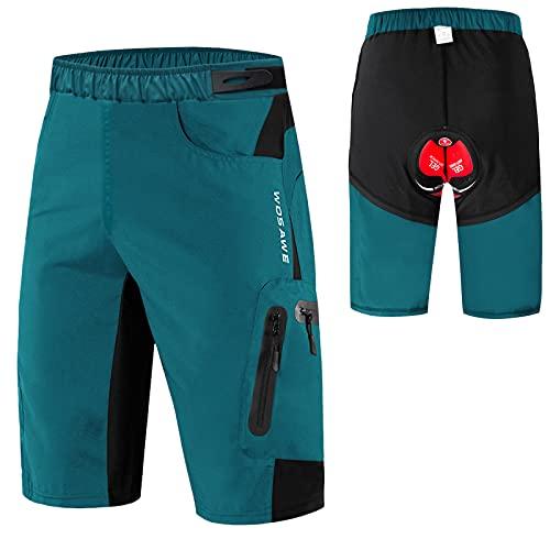Montloxs Pantalones Cortos de Ciclismo 2 en 1 para Hombre Pantalones Cortos Holgados de Bicicleta de montaña MTB Transpirables de Secado rápido con Relleno 3D