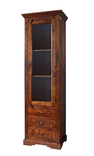 MASSIVMOEBEL24.DE Kolonialart Vitrine Akazie Holz massiv Oxford #528