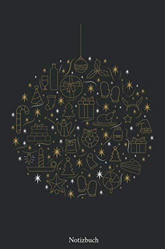 Notizbuch: Christbaumkugel mit Weihnachtsmuster 110 Seiten Notizbuch kariertes Papier| ohne Rand | glänzendes Softcover | Notizbuch, Matheheft, Schreibheft, Geschenkidee
