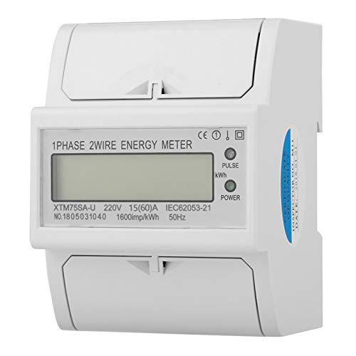 Medidor eléctrico monofásico Terminales cortos con cubierta Medidor eléctrico de carril DIN...