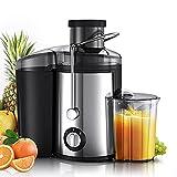 mewmewcat Extracteur de Jus,800W Centrifugeuse Fruits et Legumes,2 Vitesses 65MM Large Bouche en Acier INOX, Antidérapants,Anti-Goutte, sans BPA