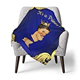 GAJAJAYZXN Baby Blanket Super Soft Royal Blue Gold Prince Printed 30 X 40 Inch, Receiving Blankets