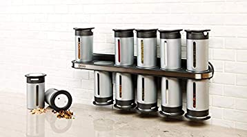 Zevro Zero Gravity Magnetic Spice Rack with 12 Canisters