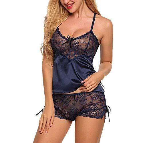 Conjuntos de Pijamas de Seda para Mujer, Camisones Sexis de satén para Mujer, Camisones para Mujer, Camisones, Pantalones Cortos, Pijama de Encaje