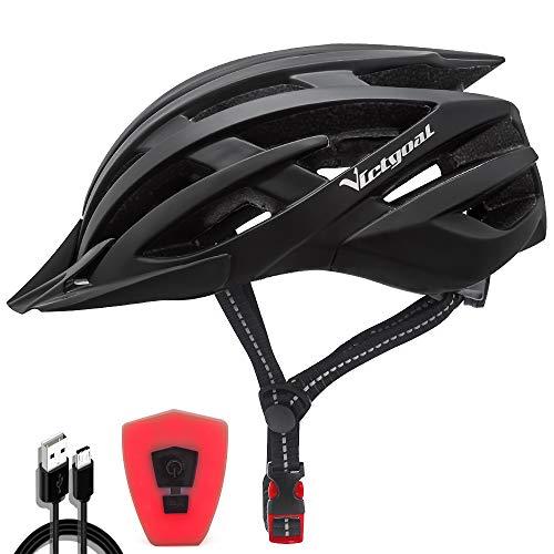 VICTGOAL Fahrradhelm mit Sicherheit LED Rear Light Mountain Bike Helm für Herren Damen Fahrradhelm mit Abnehmbares Visier Road Cycling Helm (Schwarz)