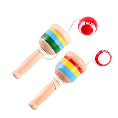 NUOBESTY 2 Stück, lustiges Koordinations-Set, tragbar, kreativ, aus Holz, Schwert, Ball, Spielzeug, Geschicklichkeitsspielzeug für Kinder