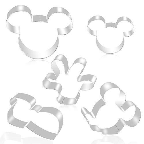 FHzytg 5 Stück Mickey Mouse Ausstecher, Edelstahl Minnie Mouse Ausstecher, Micky Maus Ausstechform, Micky Maus Keksausstecher Disney Ausstechformen, Mickey Mouse Keksausstecher für Kinder Plätzchen