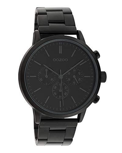 Oozoo C10549 - Orologio da polso unisex con cinturino a maglie in acciaio inox, 42 mm, colore: Nero