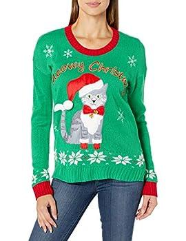 Blizzard Bay Women s Ugly Christmas Pet Sweater Green Jingle Bells Large