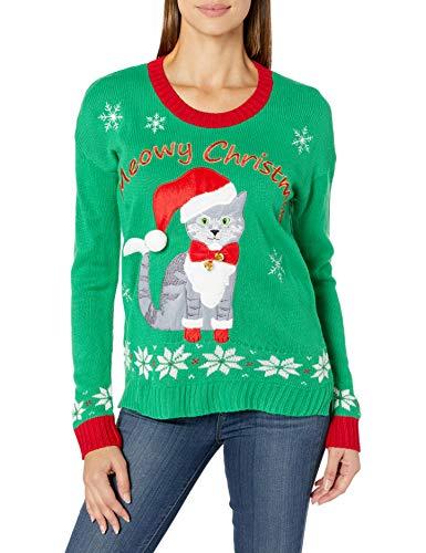 Blizzard Bay Women's Ugly Christmas Pet Sweater, Green Jingle Bells