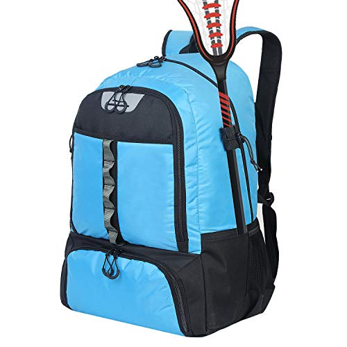 G GATRIAL Lacrosse Backpack Extra Large Field Hockey Bag Holds All Lacrosse Equipment Two Stick Holders and Separate Cleats Compartment Blue