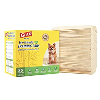 Glad for Pets Earth Friendly Bamboo Training Pads | Eco Friendly Puppy Pads for All Dogs | 85 Super Absorbent Puppy Training Pads, Deodorizing Dog Training Pads for Pets, Beige, Model Number: FF13710