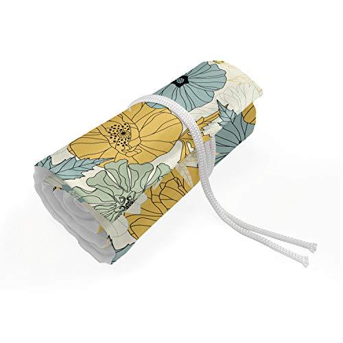 ABAKUHAUS Blumen Mäppchen Rollenhalter, Blooming Blütenblätter Natur Flora, langlebig und tragbar Segeltuch Stiftablage Organizer, 72 Schlaufen, Pale Kaffee Hellgrün