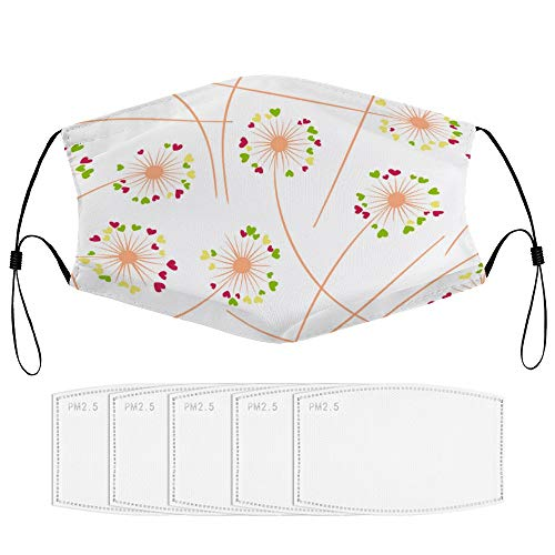 happygoluck1y Pusteblumen-Mundschutz mit Flilter, waschbar, wiederverwendbar, modisch, niedlich, für Damen, Herren, Erwachsene, winddicht, staubdicht